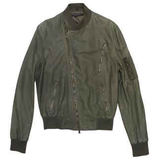 Marc Jacobs Khaki Green Leather Jacket
