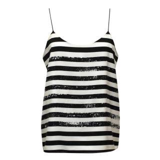 Tibi Black and White Stripe Cami