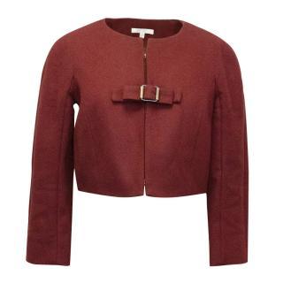 Paule Ka Red Wool Cropped Jacket With Buckle