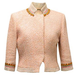 Matthew Williamson Orange Tweed Jacket with Embroidery