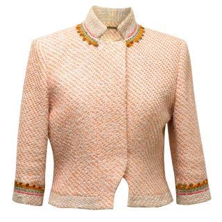 Matthew Williamson Orange Tweed Jacket with Embroidery