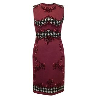 Ermanno Scervino Red Double Wool Dress with Embroidery