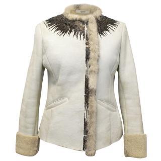 Prada Cream Coat with Fur Interior