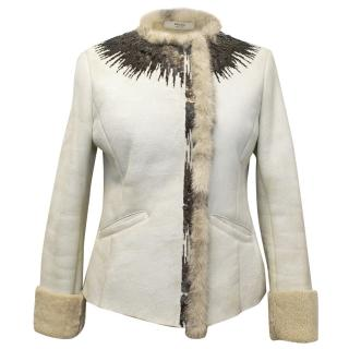 Prada Cream Coat with Fur Interior