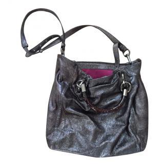 Elie Tahari  Dark Silver Metallic Tote Bag