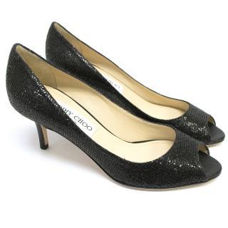 Jimmy Choo Black Glitter Isabel Kitten Heels