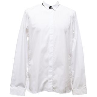 Jil Sander White Dress Shirt with Black Collar Detail