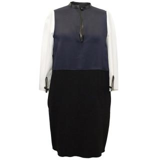 Celine Navy and Black Dress With Cream Sleeves