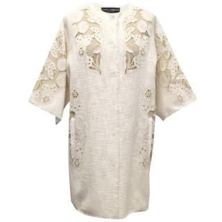 Dolce and Gabbana Cream Linen Jacket with Embroidery