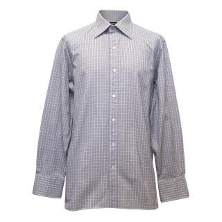 Tom Ford Lilac Gingham Print Dress Shirt