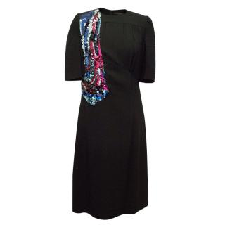 Louis Vuitton Black Dress with Sequin Drawing