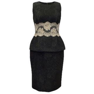 Dolce & Gabbana Black Embroidered Cotton Dress with Lace Detail