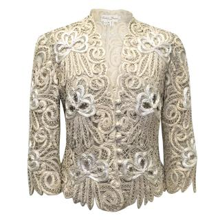 Eavis Brown M- Cream Silk Embroidered Jacket