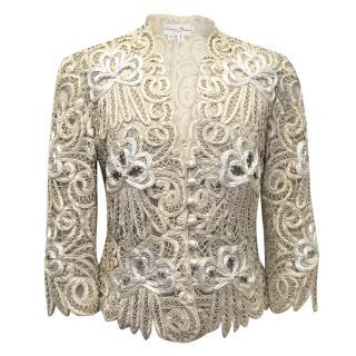 Eavis Brown M- Cream Silk Embroidered Jacket