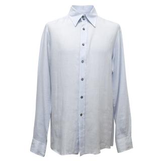 Dolce & Gabbana Blue Linen Button Down Shirt