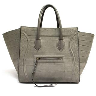 Celine Medium Grey Croc Stamped Phantom