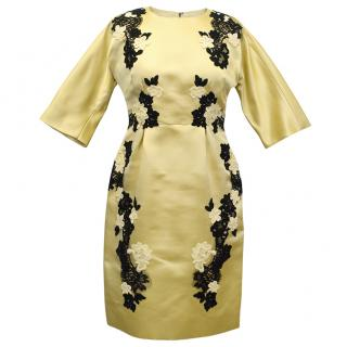 Dolce and Gabbana Yellow Dress with Black Lace Flowers