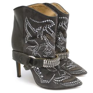 Isabel Marant 'Milwauke' Studded Suede and Leather Boots
