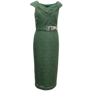 Burberry Prorsum Green Lace Fitted Dress With Embellished Waist