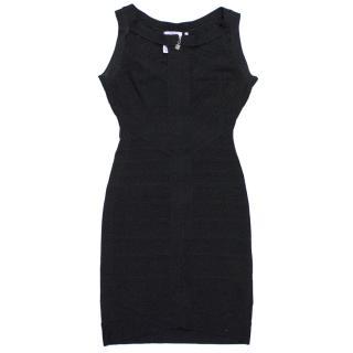 Herve Leger Black High Neck Sleeveless Dress
