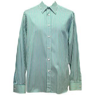 Prada White and Green Striped Button Down Shirt
