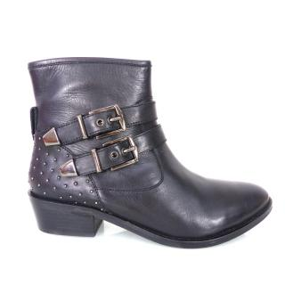 LOLA CRUZ Black Leather Biker Ankle Boots / Booties