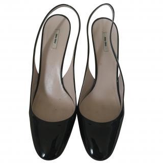 Miu Miu Black Patent Stiletto Sling Back Heels