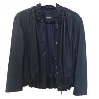 Maje black ruffle leather bomber jacket