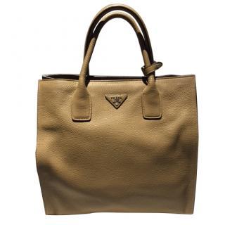 Prada Leather Tote Bag in Caramel