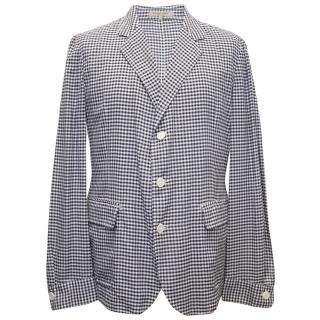 Bottega Veneta Black and White Checkered Cotton Blazer
