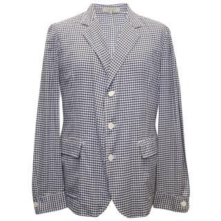 Bottega Veneta Black and White Checkered Cotton Blazer