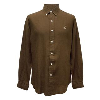 Polo by Ralph Lauren Brown Linen Custom Fit Shirt