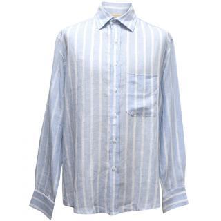 Sartoria Saracena Baby Blue Striped Linen Shirt