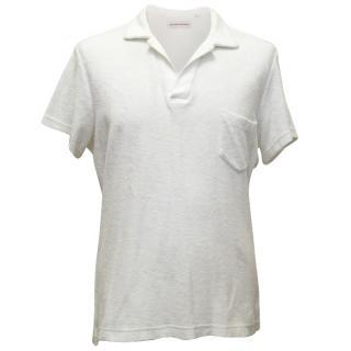 Orlebar Brown White Cotton Polo Shirt