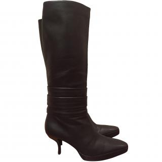 Bally black all leather knee high boots