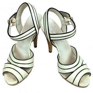 Miu Miu Glitter Gold, Black & Patent Cream Heels