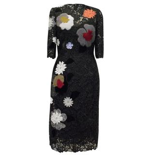 Fendi Black Lace Dress With Fur and Lace Flowers