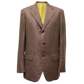 Kiton Purple Brown Cashmere/Linen Blazer with Yellow