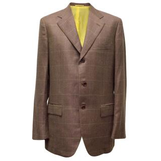 Kiton Brown Cashmere & Linen Check Blazer