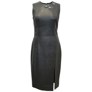 Christian Dior Leather Pencil Dress With Embellishment