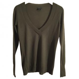 CLUB MONACO wool khaki v neck sweater