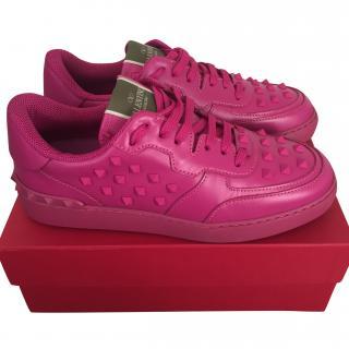 Valentino Magenta Rockstud Sneakers