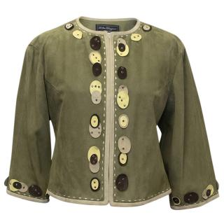 Salvatore Ferragamo Green Embroidered Leather Jacket