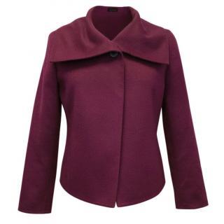 AKRIS Magenta Pink Cashmere Cropped Jacket