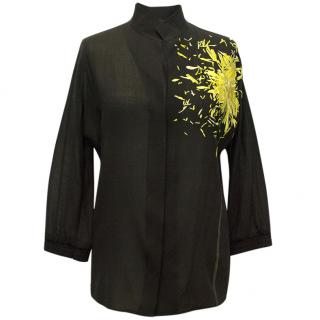 Akris Black Blouse with Embroidered Flower