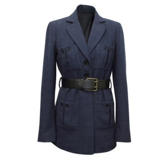 Jason Wu Blue Tweed Hostess Jacket with Black Leather Belt