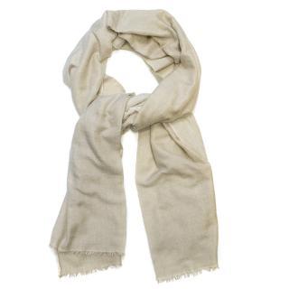 Hermes Cream Cashmere/Silk Frayed Scarf