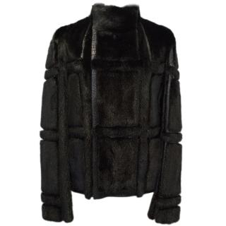 Gucci Black Mink and Alligator Jacket