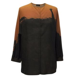 Akris Black and Orange Safari Print Blouse