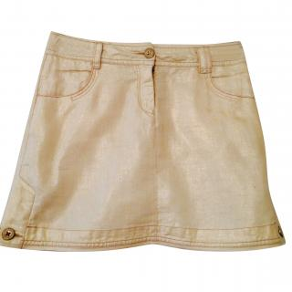 Donna Karan DKNY Girls Linen Cream Gold Shimmer Skirt